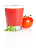 Tomato juice and parsley  on white Stock Photography