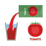 Tomato juice. Pour tomato juice into  glass. Vector illustration Royalty Free Stock Photography