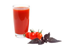 Tomato juice and red basil Royalty Free Stock Image