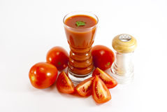 Tomato juice and salt Royalty Free Stock Images
