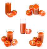 Tomato juice set. Ripe tomatoes near by glass of tomato juice Stock Photos