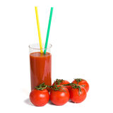 Tomato juice and tomatos Stock Photos