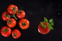 Tomato juice. Top view. Royalty Free Stock Images