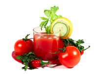 Tomato juice and vegetables Stock Photo