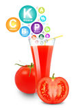 Tomato juice and vitamins Stock Photography