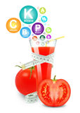Tomato juice and vitamins Royalty Free Stock Image