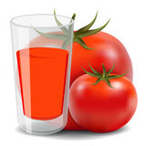 Tomato juice. On a white background Stock Photos