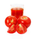 Tomato juice on the white background Royalty Free Stock Photography