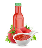 Tomato ketchup bottle and fresh tomatoes isolated on white background Stock Photography