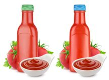 Tomato ketchup bottle, ketchup in bowl and fresh tomatoes isolated on white background Stock Photos