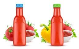 Tomato ketchup bottle isolated on white background Stock Photos