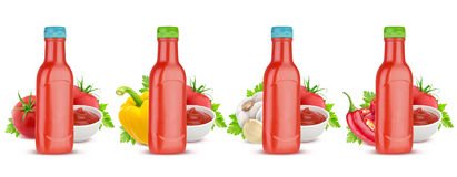 Tomato ketchup bottle isolated on white background Royalty Free Stock Photography