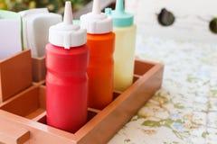 Tomato ketchup, chili sauce and mayonnaise Royalty Free Stock Image