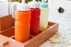 Tomato ketchup, chili sauce and mayonnaise Royalty Free Stock Images