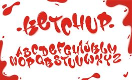Tomato ketchup font set with reds drops isolated on white background. English alphabet set made of sauce, liquid and glossy. Red a. Bc set for poster, packaging stock illustration
