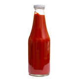 Tomato ketchup in a glass bottle Stock Images