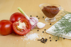 Tomato ketchup. Necessary ingredients for preparation of ketchup Royalty Free Stock Photo