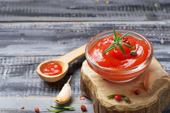 Tomato ketchup with pepper and garlic Stock Photo