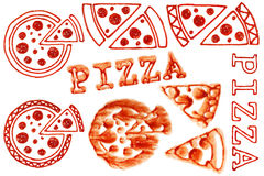 Tomato Ketchup Pizza Stain. A picture of some liguid tomato ketchup pizza stain Stock Photo