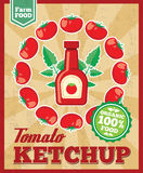 Tomato ketchup retro vector background Royalty Free Stock Images