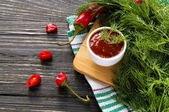 Tomato ketchup sauce salsa, hot chili and basil Royalty Free Stock Images