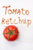 Tomato ketchup sign with ketchup and fresh tomato Stock Photos
