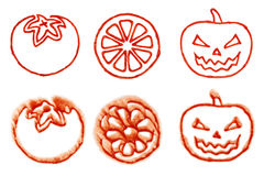 Tomato Ketchup Tomato Lemon Pumpkin Stain Royalty Free Stock Image