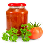 Tomato ketchup with tomato and parsley Stock Photos
