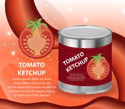 Tomato ketchup, tomato paste in a tin can, 3d realistic style. Canned red sauce. Mock-up for your product design. Vector Royalty Free Stock Image