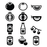 Tomato, ketchup, tomato soup icons set Stock Photography
