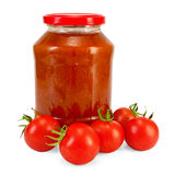 Tomato ketchup and tomatoes Royalty Free Stock Photography