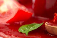 Tomato ketchup in a wooden spoon. Homemade Stock Photos