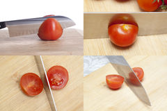Tomato and knife Stock Photos