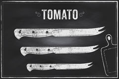Tomato knife. Vector sketch chalk illustration design Royalty Free Stock Photos