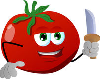 Tomato with a knife Stock Images