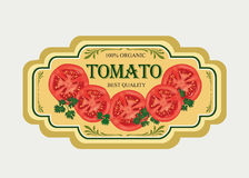 Tomato label. Vector set. Retro stickers. Royalty Free Stock Photo
