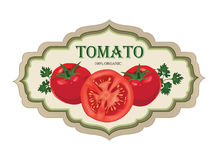 Tomato label. Vector set. Retro stickers. Stock Image