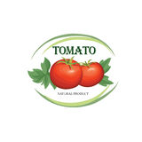 Tomato label. Vegetable logo. Retro sticker of naural product to Royalty Free Stock Photos