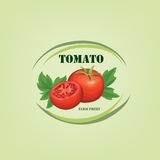 Tomato label. Vegetable logo. Retro sticker of naural product to Stock Photos