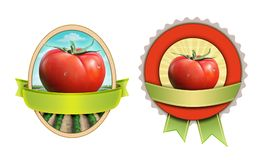 Tomato labels with clipping mask. Labels for tomato based products. Digital illustration, clipping mask included stock illustration
