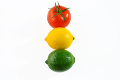 Tomato, lemon and lime - traffic light. Stock Images
