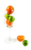 Tomato and lemon in  wine glass Stock Photo