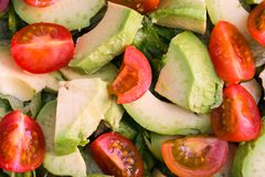 Tomato, lettuce and avocado salad royalty free stock images