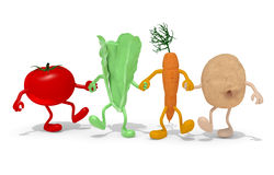 Tomato, lettuce, carrot and potato hand in hand Stock Images
