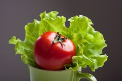 Tomato and  lettuce in a mug Royalty Free Stock Photo