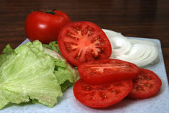 Tomato, lettuce, and Onion Royalty Free Stock Photo