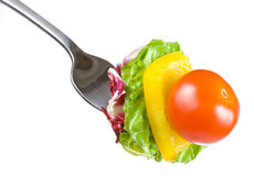 Tomato Lettuce Pepper on Fork Royalty Free Stock Photography