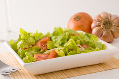 Tomato and lettuce salad. Bowl of tomato and lettuce salad with cloves of garlic and onion beside it Stock Photos
