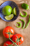 Tomato, Lime and Chill Royalty Free Stock Image