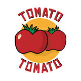 Tomato logo icon. Vector cartoon illustration with red organic farm fresh tomato. Simple design element. Logo icon template in flat outline style. Vegetable Royalty Free Stock Photography